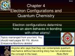 Chapter 4 Electron Configurations and Quantum Chemistry