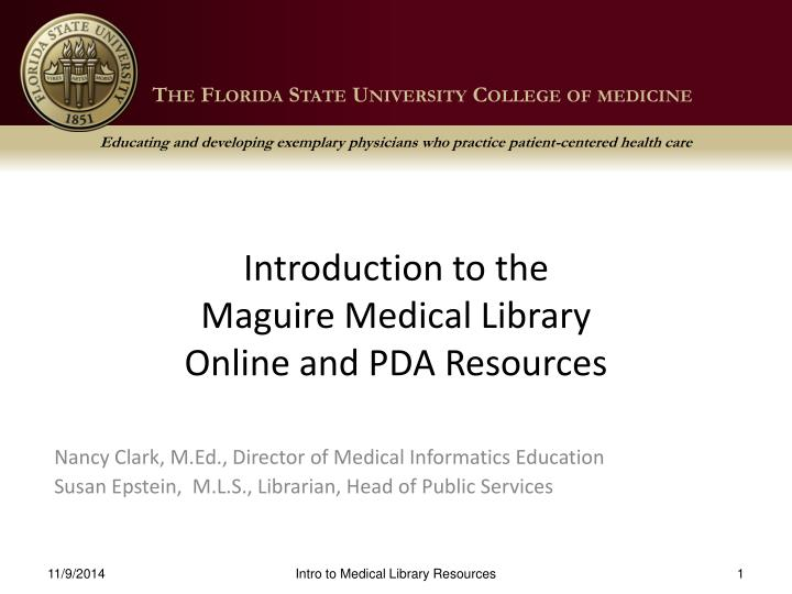 introduction to the maguire medical library online and pda resources n.