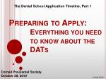 Preparing to Apply: 		Everything you need 			to know about the 			DATs