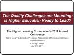 The Quality Challenges are Mounting: Is Higher Education Ready to Lead?