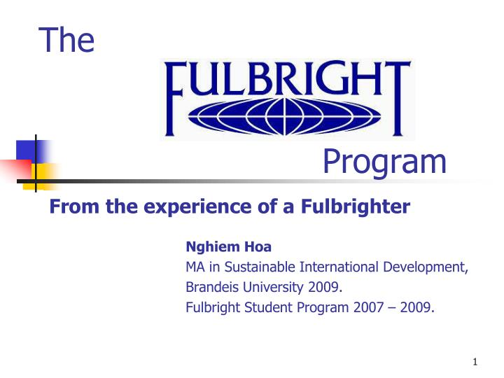 the program from the experience of a fulbrighter n.