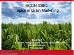 ECON 338C: Topics in Grain Marketing