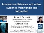 Intervals as distances, not ratios: Evidence from tuning and intonation