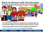 Back to School with God Sunday is part of the Schools Prayer Network