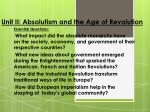 Unit II: Absolutism and the Age of Revolution