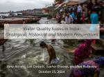 Water Quality Issues in India: Geological, Historical and Modern Perspectives