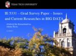 IE 5331 – Grad Survey Paper – Issues and Current Researches in BIG DATA