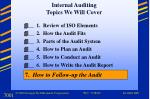 Internal Auditing  Topics We Will Cover