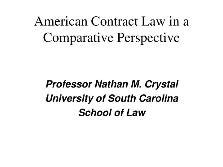 american contract law in a comparative perspective n.