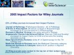 2005 Impact Factors for Wiley Journals