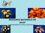 RESOURCE MATERIALS ON JNVST [JAWAHAR NAVODAYA VIDYALAYA SELECTION TEST]