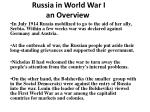 Russia in World War I an  Overview