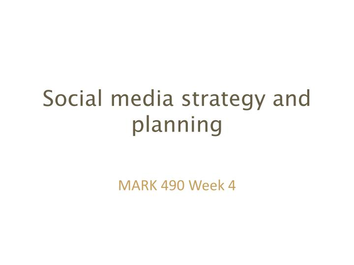 social media strategy and planning n.