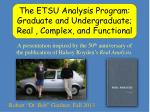 The ETSU Analysis Program: Graduate and Undergraduate; Real , Complex, and Functional