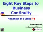 Eight Key Steps to Business Continuity Managing the Eight R's