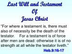 Last Will and Testament Of Jesus Christ