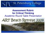 Assessment Rubric for Critical Thinking Academic Round Table Presentation