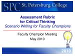Assessment Rubric  for Critical Thinking Scenario Writing for Faculty Champions