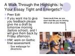 A Walk Through the Highlights: Is Your Essay Tight and Energetic?