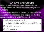7.4 DV's and Groups