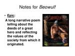 Notes for Beowulf