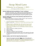 "Scrap Metal Laws Effective as of January 1, 2013 ( 2013 changes are noted in  "" olive green "")"