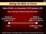 Dating the  Birth of Christ