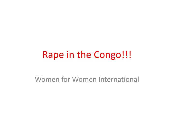 rape in the congo n.