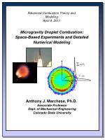 Advanced Combustion Theory and Modeling April 8, 2011