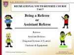 RECREATIONAL YOUTH REFEREE COURSE Unit 5