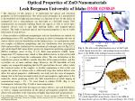 Optical Properties of ZnO Nanomaterials  Leah Bergman University of Idaho  DMR 0238843