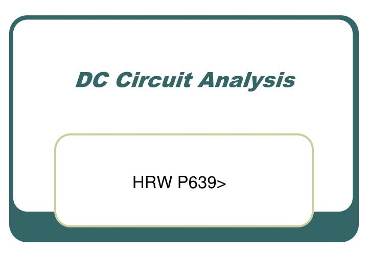 dc circuit analysis n.