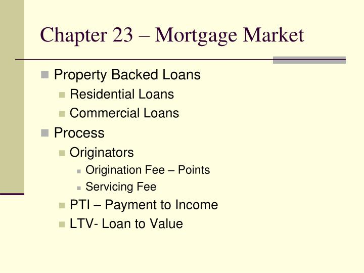 chapter 23 mortgage market n.