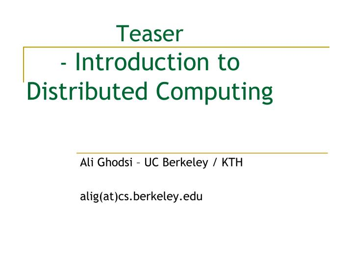 teaser introduction to distributed computing n.