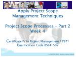 Project Scope Processes - Part 2