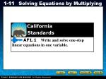 AF1.1 Write and solve one-step linear equations in one variable.