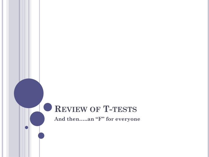 review of t tests n.