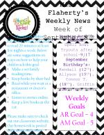 Upcoming Dates to Remember: Spell Bowl Tryouts after school–9/17  September Birthday's: