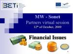 MW -  Sonet Partners virtual session  12 th  of October ,  200 9