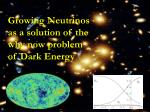 Growing Neutrinos as a solution of the why now problem of Dark Energy