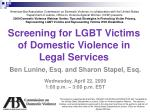 Screening for LGBT Victims of Domestic Violence in Legal Services