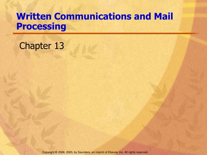 written communications and mail processing n.