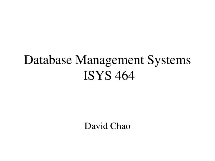 database management systems isys 464 n.
