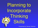 Planning to Incorporate Thinking Skills