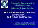 Wisconsin Department of Health Services Asbestos & Lead Section