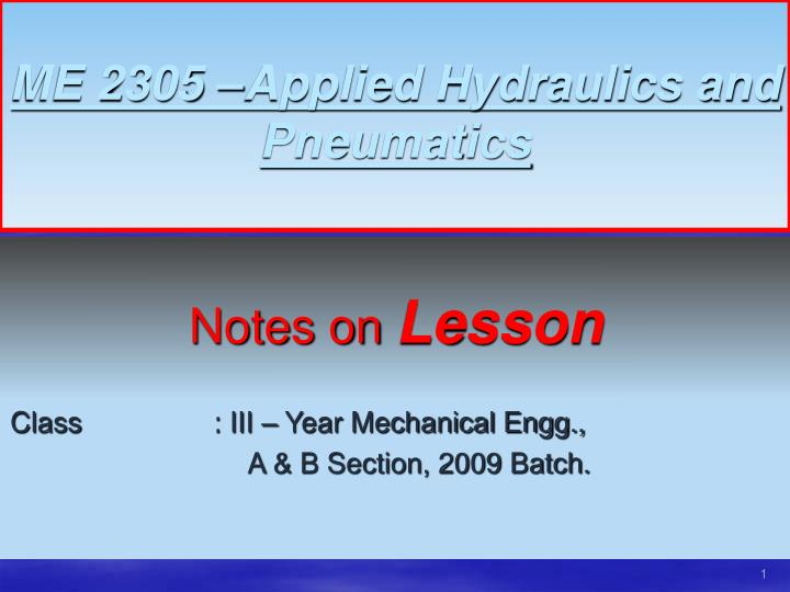 me 2305 applied hydraulics and pneumatics n.