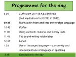 9.00 Curriculum 2014 at KS2 and KS3  (and implications for GCSE in 2018)
