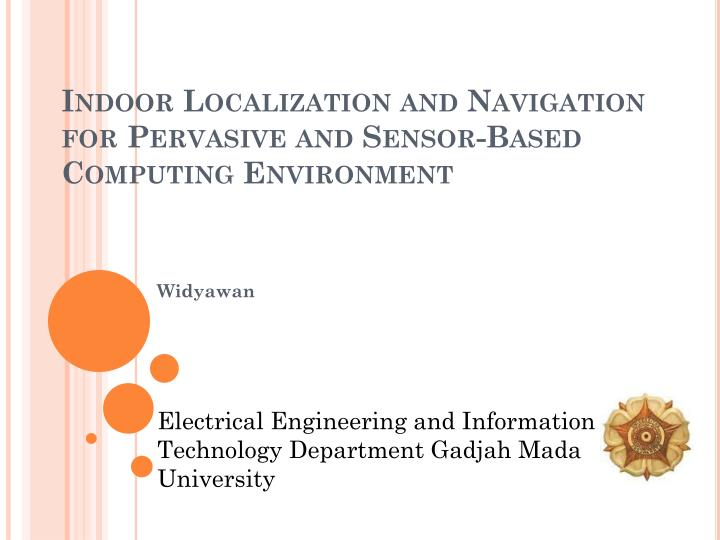 indoor localization and navigation for pervasive and sensor based computing environment n.