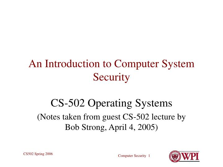 an introduction to computer system security n.