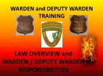 WARDEN and DEPUTY WARDEN TRAINING
